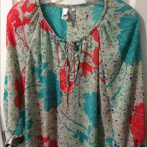 MING by MANGO tropical floral blouse